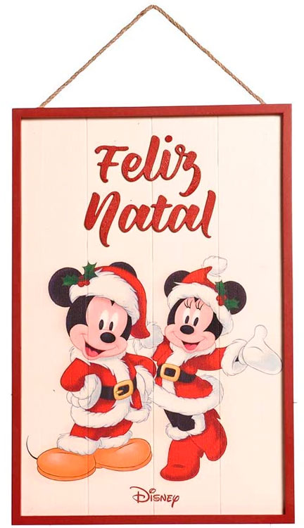 Quadro Feliz Natal do Mikey e Minnie