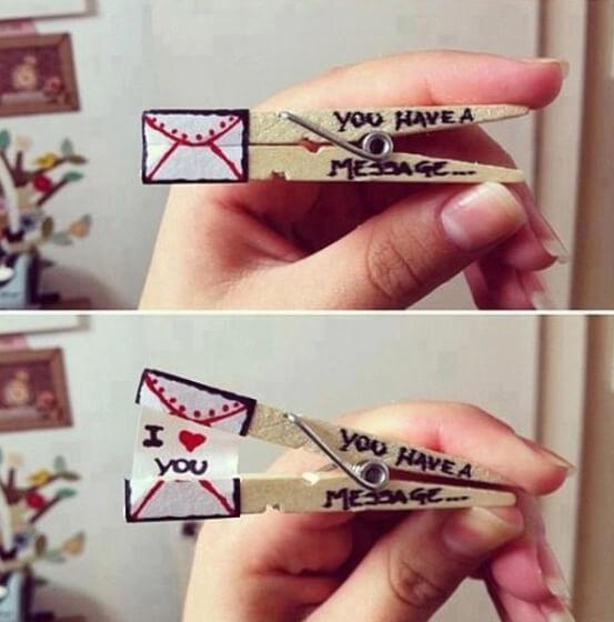 Cartões Namorados: Use um prendedor
