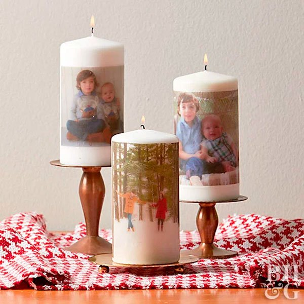 Velas decoradas com fotos