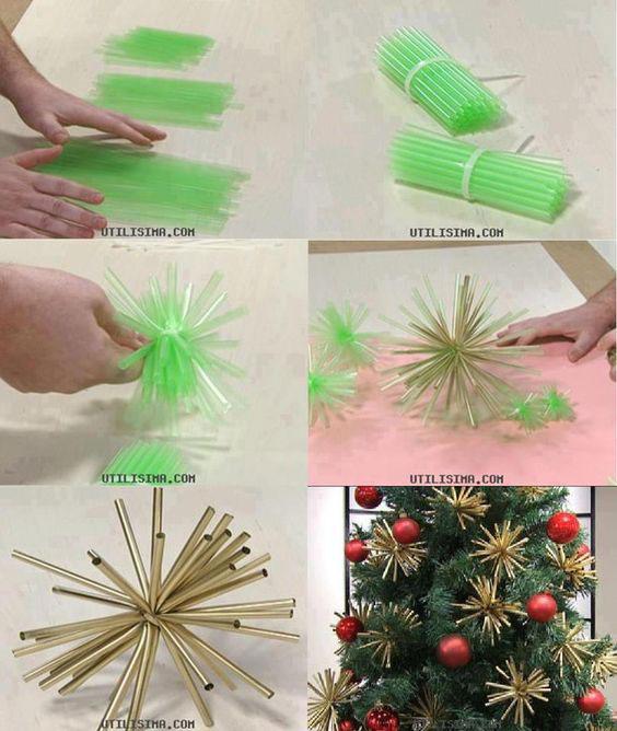 Enfeites para árvore de Natal com canudos