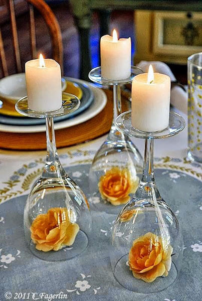 Use taças de cristal para por as velas