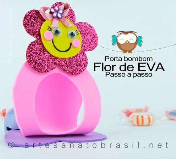 Porta-bombom de flor para o Dia das Mães