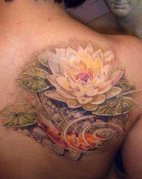 Tatuagem de flor de lótus 3D