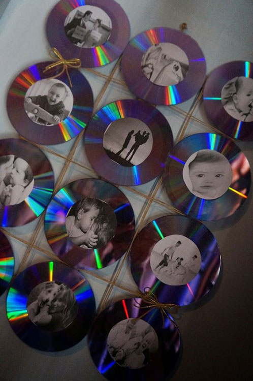 Mural de fotos com CDs