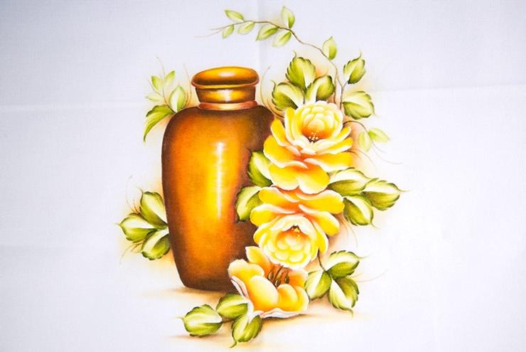 Pintura de rosas e vaso
