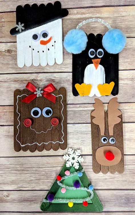 Enfeites de Natal artesanal com palitos de sorvete