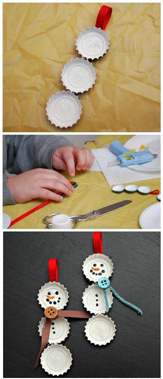 Enfeites de Natal fáceis de fazer com tampinha de garrafa