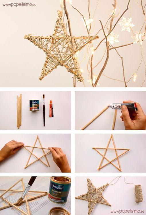 Faça estrelas com palitos e linha de sisal
