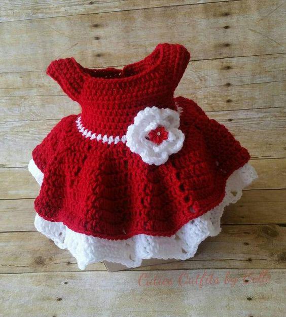 Vestido natal bebê de crochê