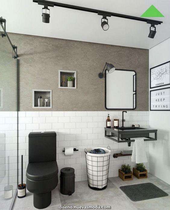 Banheiro Preto e Branco: Cimento queimado