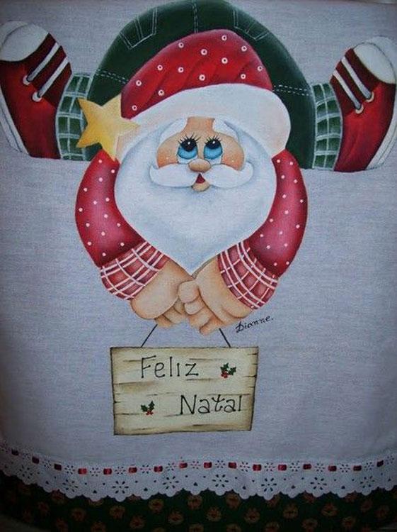 Com pintura de Papai Noel