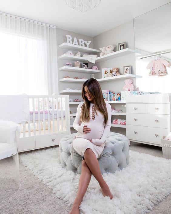 Decoração de quarto de bebê menina todo branco