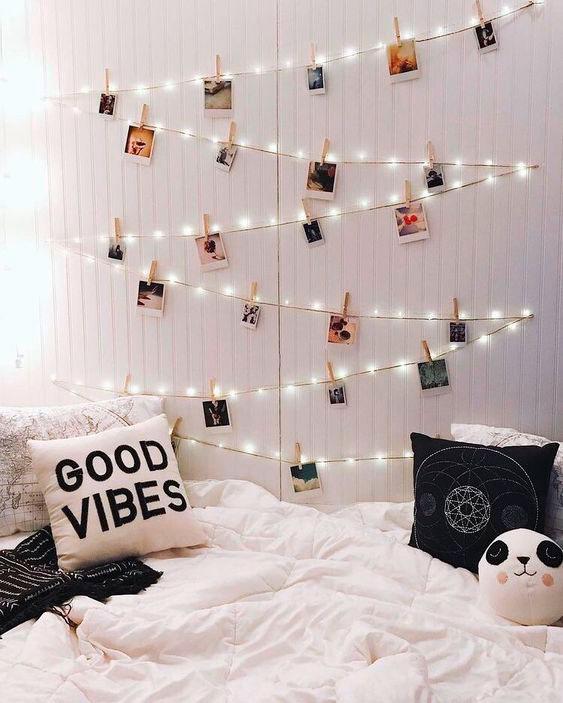 Decore com luzes de LED o quarto