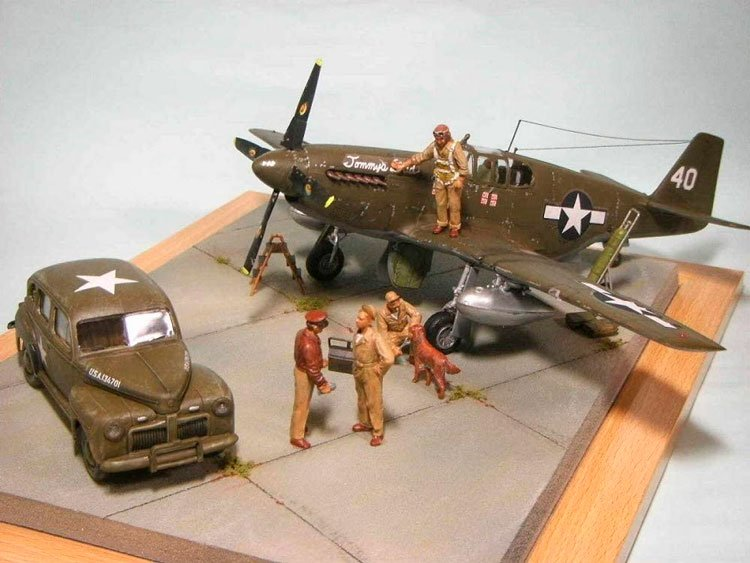 Avião Mustang P-51d With Usaaf Pilots and Personnel
