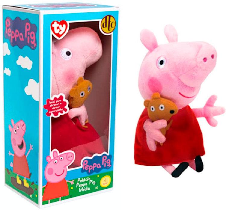 Peppa Pig Pelúcia Média Com Ursinho