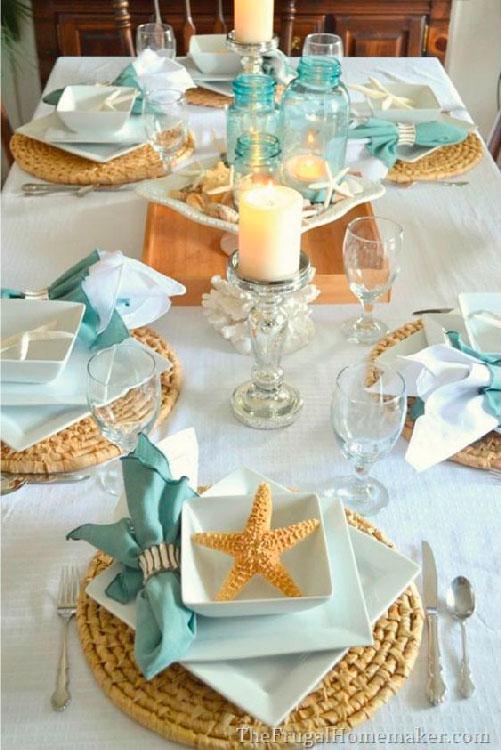 Crie uma decoração praiana para a mesa de jantar