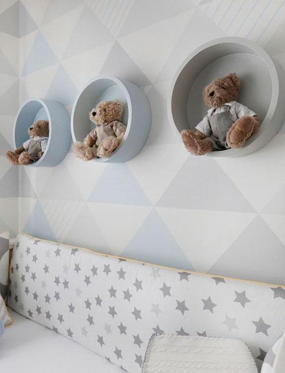 Nichos para quarto de bebê redondos